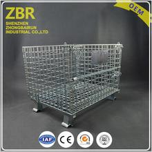 collapsible folding metal storage cargo wire cage container castors crate with pallet