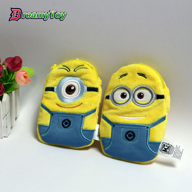 China manufacturer clip plush toys custom mobile phone carry bags