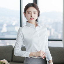 wholesale white women shirts ladies tops long sleeve cotton blouse for office
