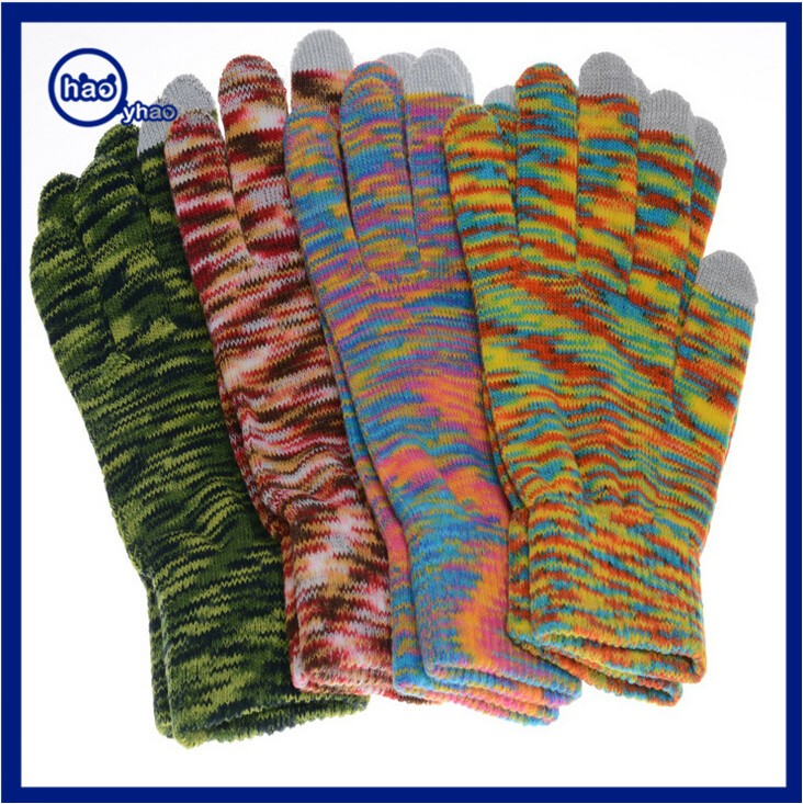 Yhao Camouflage Gloves Winter Outdoor Warm Knit Touch Screen Mitten