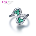 Globalwin 2017 newest antique rings designs 925 sterling silver green stone ring
