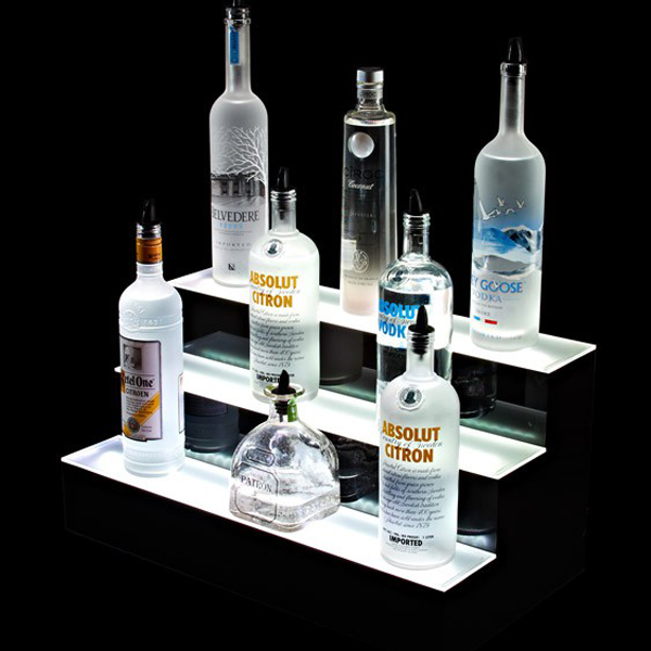 Wholesale Factory New Products Plastic Custom Acrylic Bottle Display LED Liquor Display Shelves of smirnoff