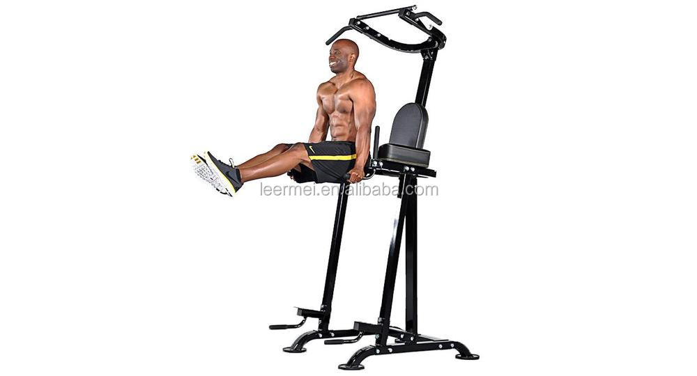 Knee Raise Multi Power Tower with Exercise Bench Chin Up Push Pull Dip Fitness Station Exercise Home Gym