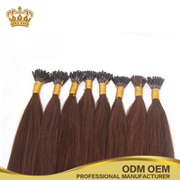Wholesale Brazilian 100% human hair high quality silky straight pre bond keratin fusion i tip hair extension
