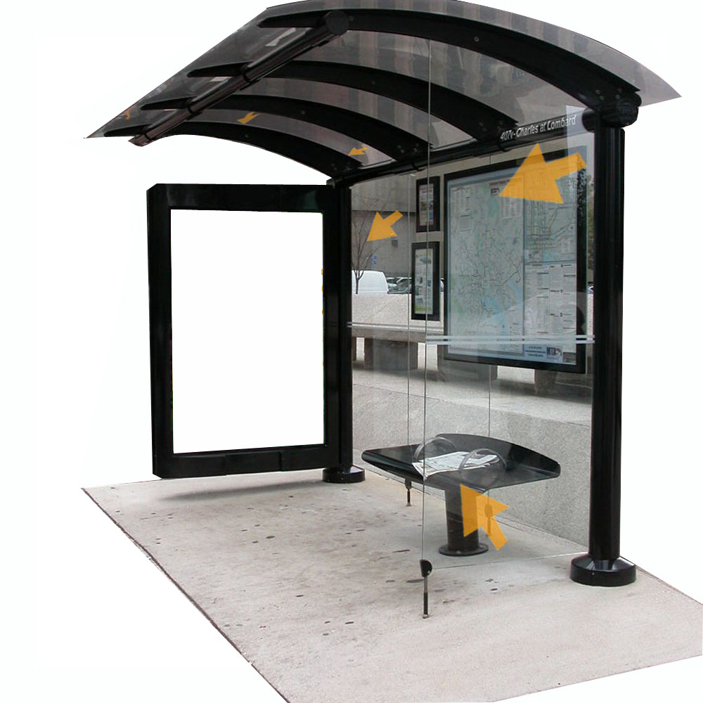 Metal Bus Stop Shelter with LED display
