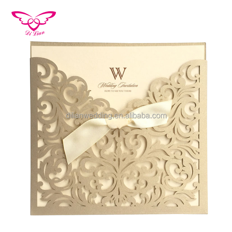 Hot selling gold wedding cards invitation
