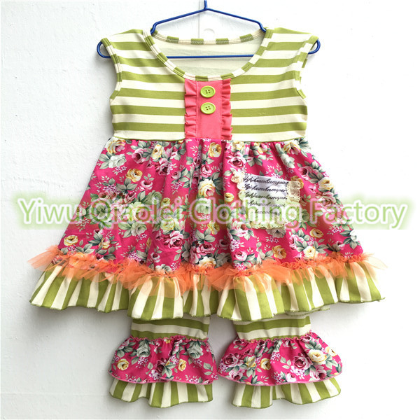 Latest Girls Boutique Clothing Summer Clothing Kids Sleeveless Top And Floral Ruffle Short Authentic Kids Clothing