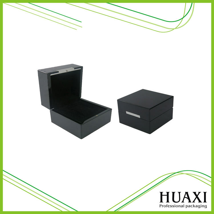 Hot sale gloss shiny black Watch packaging box with brushed aluminum