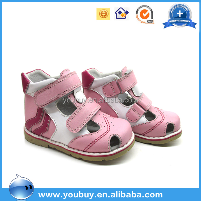 Wholesale high quality guangzhou kids sandals ,pink girl leather sandals with eva sole