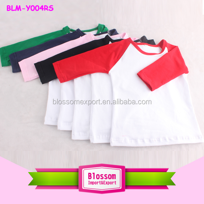 Curve bottom round neck children baseball raglan shirt 3/4 sleeve cotton blank raglan t shirt