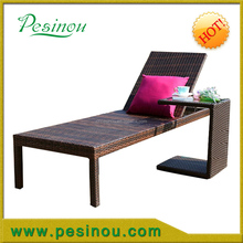 high quality sun rattan lounge with aluminum frame/outdoor sun lounger/ sun bed