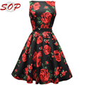1950s Women Red Rose Floral Tea Length Audrey Hepburn Dress