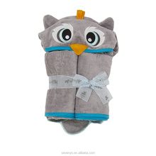 140cm x 80cm Owl Velour Toddler Baby hooded Towel, Grey For kids gift HDT-103 China factory
