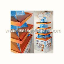 Good quality floor cosmetic cardboard metal swivel display stand
