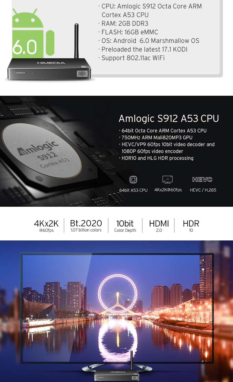 HIMEDIA Amlogic S912 2g 16g 4k hdr Latest Octa Core KODI Himedia Amlogic A5 Android TV box