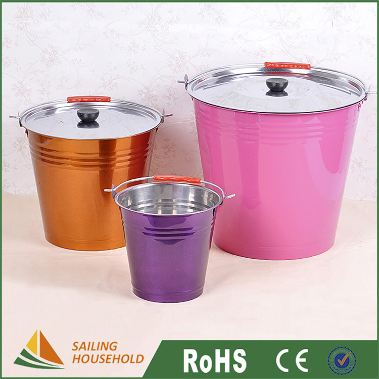 China gold suppliers ice bucket with lid, color tin bucket for water, metal ice beer bucket