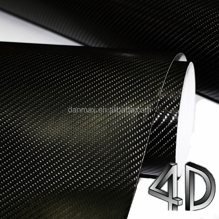 High Glossy Fashion Black PVC Cast Vinyl 4D Carbon Fiber Vinyl Sticker