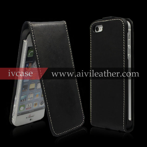 Premuim black top grain leather defender case for iphone 5, elegant magnetic flip case for iphone 5