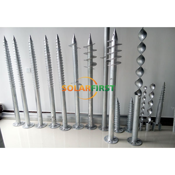 PV fastener hardware Q235 cheap solar hot dipped galvanized Ground Screw Pole Anchor