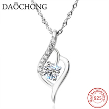 Latest Model Fashion Design White Zircon Pendant Silver Wedding Necklace