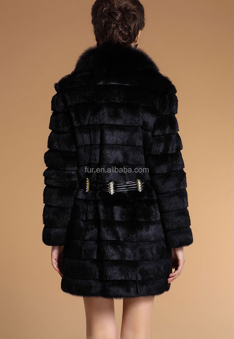 QD11807 Genuine Sheared White Rabbit Fur Coats Women with Fox Fur Collar Girls