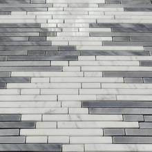 strip shape carrara white italy gray mosaic stone