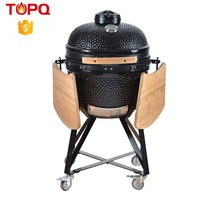 TOPQ new arrival charcoal grills big black 20 kamado grill with Side Tables for Outdoor Cooking
