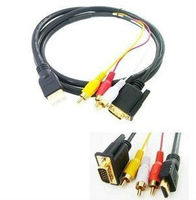 Gold HDTV HDMI to VGA HD15 3 RCA Adapter Cable 5ft 1.5M