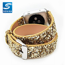 Double Tour Watch Band,Western Shiny Glitter Power Leather Bling Luxury Smart Watch Band for Apple