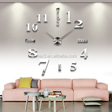Max3 silver mirror diy clock cartoon sticker wall clock for home decoration