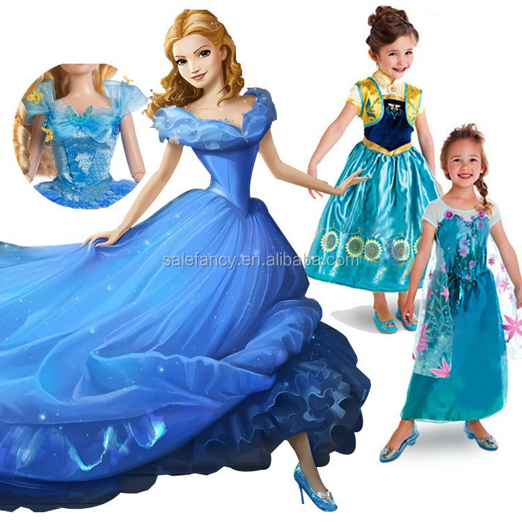 2015 New Princess cinderella dresses for girls cinderella frozen elsa dress QKC-2624