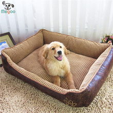 Washable Leather Large Dog Beds PP Cotton Padded Warm Winter Pet Puppy Beds Detachable