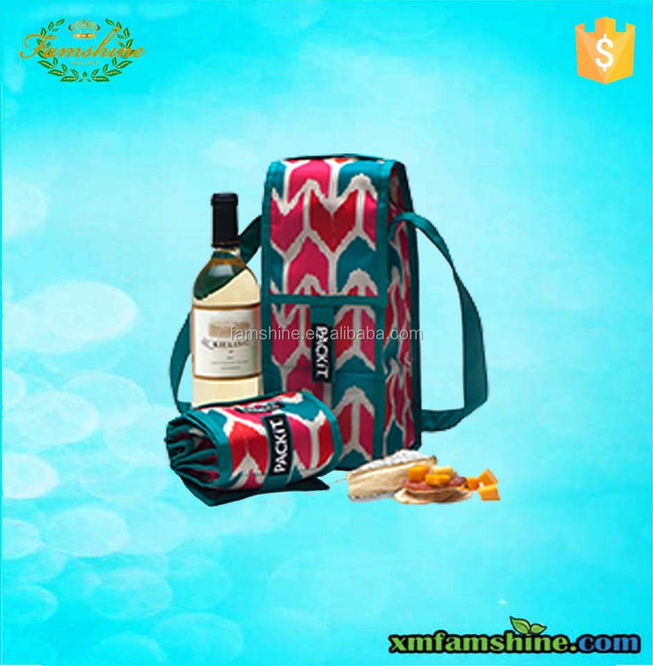 custom polyester insulated cooler ice bag wine