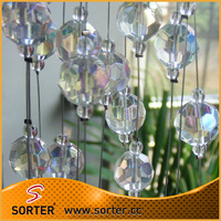 modern style iridescent color crystal global ball bead curtain for room divider