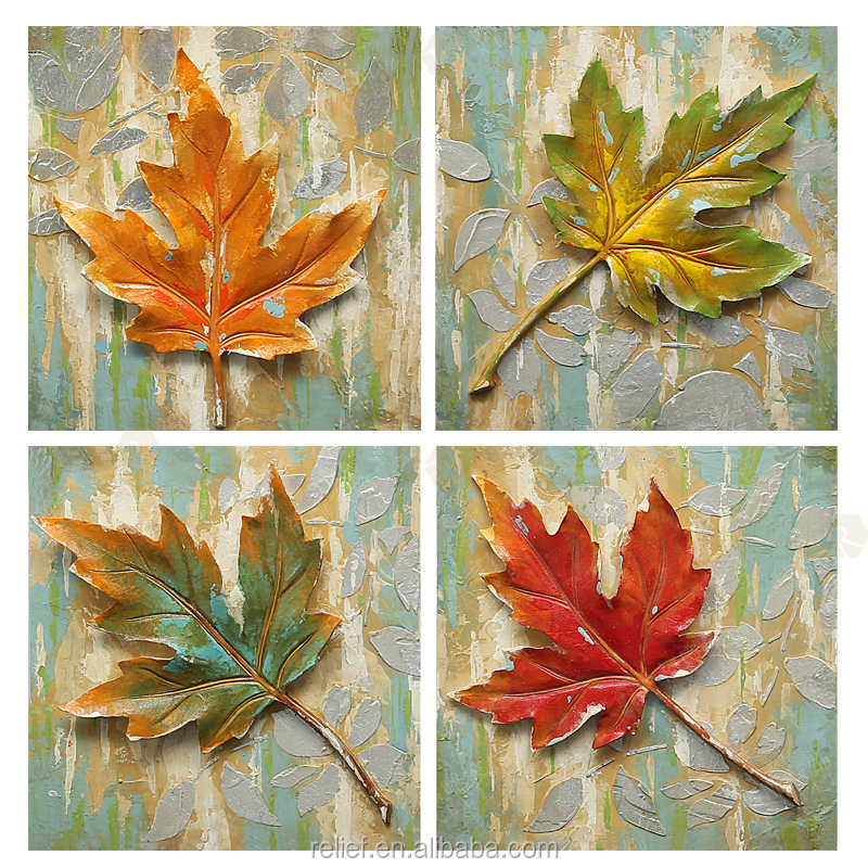 Beautiful Maple Leaf Oil Painting on Canvas for Home decor 30cm