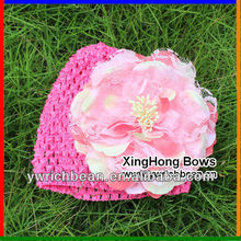 2013 New style kid crochet hat with flowerKnitting crochet pattern hat cute baby croche hotpink hats caps with large flowerFH-54