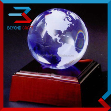 Blue Crystal glass globe glass earth globe with world map wooden base