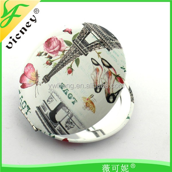 Tower Printed Round Shape MIni Mirror for Travel Souvenir