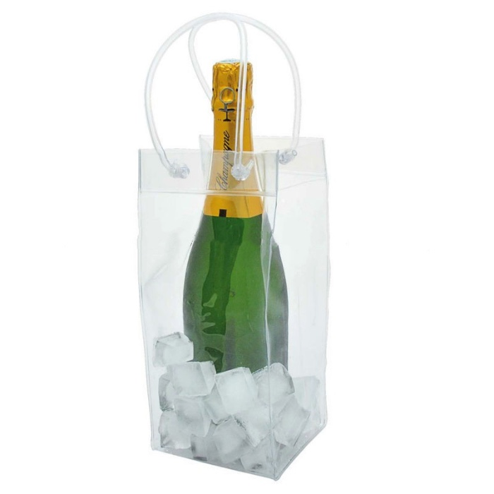 Promotional OEM Logo Printing transparent plastic PVC Wine cooler Bag