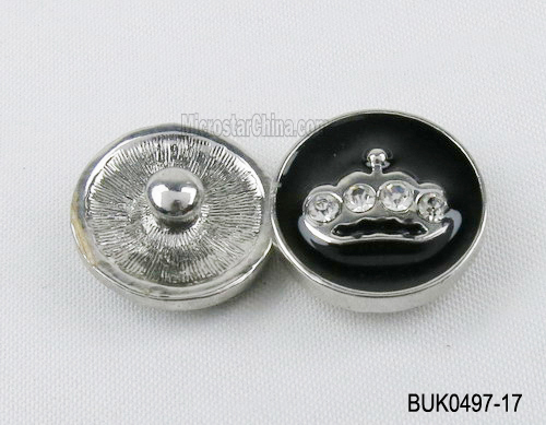 20mm Enamel black rhinestone snap button fastener