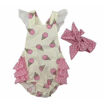 summer polka dot rompers lace-up onsies baby ruffle backless vest rompers infant floral cloth
