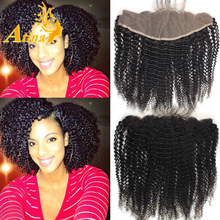 Cheap Human Hair Free Middle 3 Parting Brazilian Remy Virgin Ear To Ear Afro Kinky Curly Lace Frontal Closure 13x4 Free Shipping