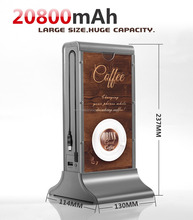 Unique design advertising menu power bank mobile phone charging station for restaurant, coffee shop, Bar w/ built in cable