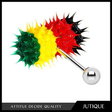 tongue ring\Vibrating Barbells Rasta Colors Silicone Koosh custom tongue rings Piercing