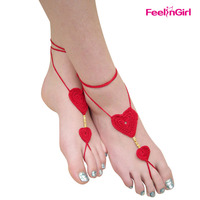 Red Heart Shap Yoga Barefoot Beach Walk Naked Sandals