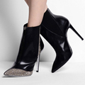 high heel hot fix design with italian quality winter ankle lady boot