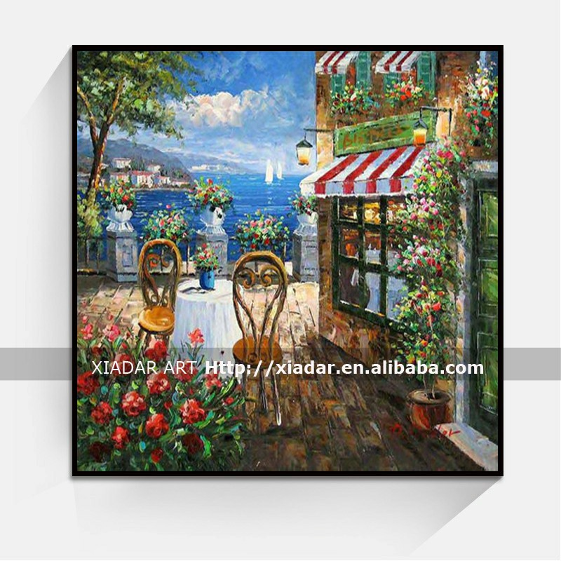 Thick Oil Handpainted Venice Canvas Painting For Coffee bar and Living Room