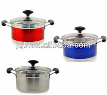 Color stainless steel cooking pots and pans sets with capsuled bottom