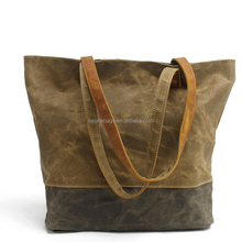 Heavy duty 16OZ waterproof waxed canvas tote bag with genuine leather handle