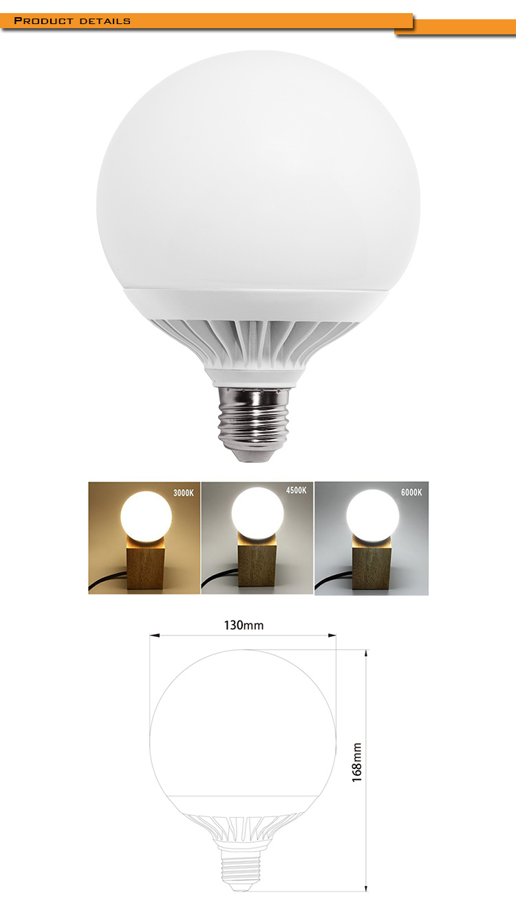 High lumen 25W 2700lm,Aluminum shell Big bulb LED G130 LIGHT